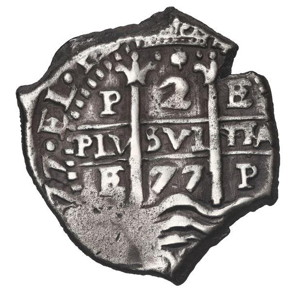 Potosi, Bolivia, cob 2 reales, 1677 E.