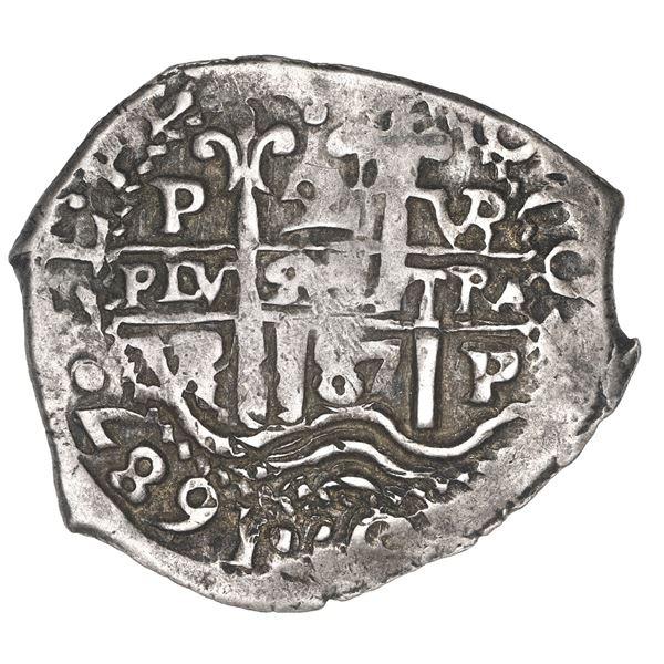 Potosi, Bolivia, cob 2 reales, 1687 VR.
