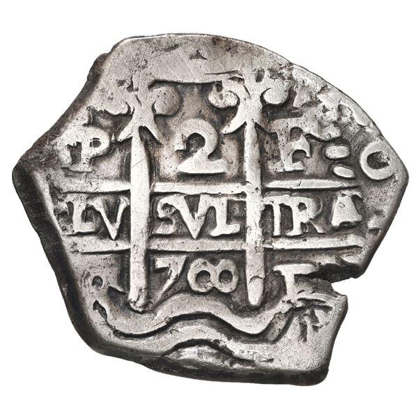 Potosi, Bolivia, cob 2 reales, 1700 F.