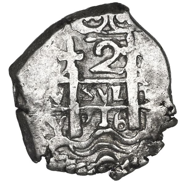 Potosi, Bolivia, cob 2 reales, 1716 Y, NGC MS 61, finest known in NGC census.