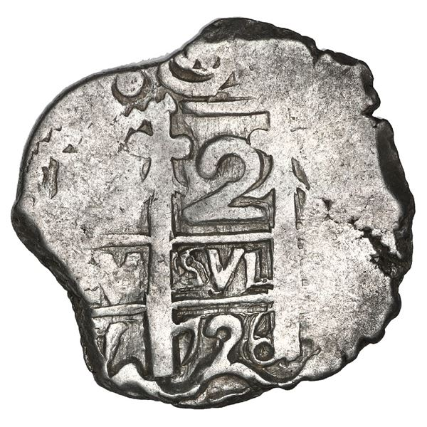 Potosi, Bolivia, cob 2 reales, 1726 Y (Louis I), NGC AU 55, finest known in NGC census.