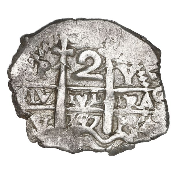 Potosi, Bolivia, cob 2 reales, 1727 Y (Louis I), NGC MS 62, finest known in NGC census.