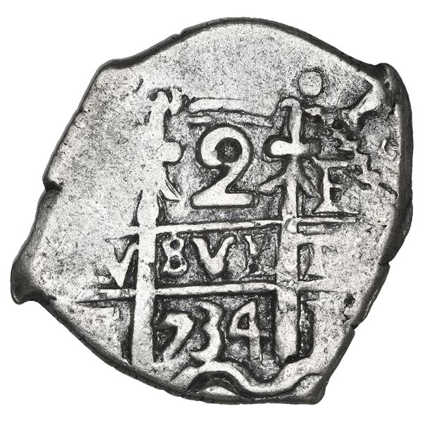 Potosi, Bolivia, cob 2 reales, 1734 E, NGC XF 45, finest known in NGC census.