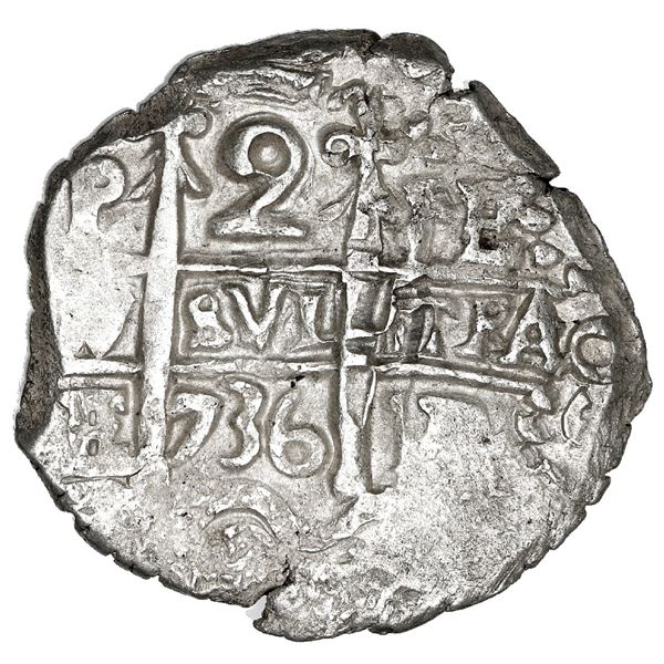 Potosi, Bolivia, cob 2 reales, 1736 E, NGC MS 63, finest known in NGC census.