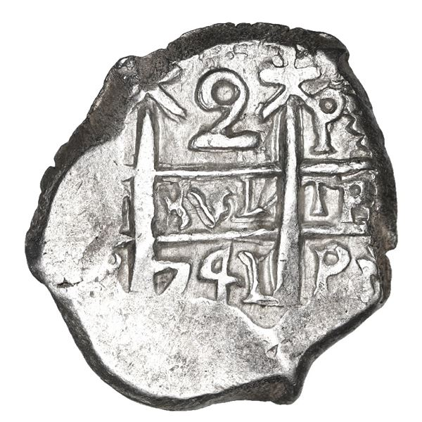 Potosi, Bolivia, cob 2 reales, 1741 P, NGC MS 64, finest and only example in NGC census.
