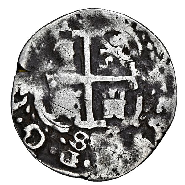 Potosi, Bolivia, cob 1 real Royal (galano), 1684 VR, unique, NGC VF details / plugged.