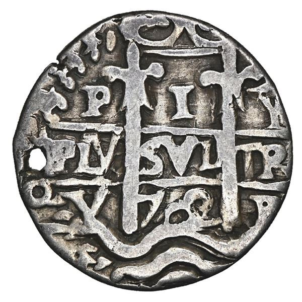 Potosi, Bolivia, cob 1 real Royal (galano), 1702 Y, very rare, NGC VF details / holed.