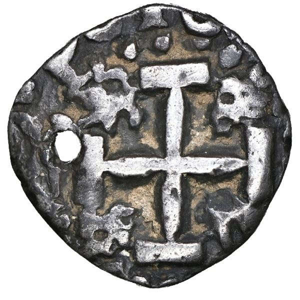 Potosi, Bolivia, cob 1/2 real Royal (galano), 1758, unique, NGC XF details / holed.