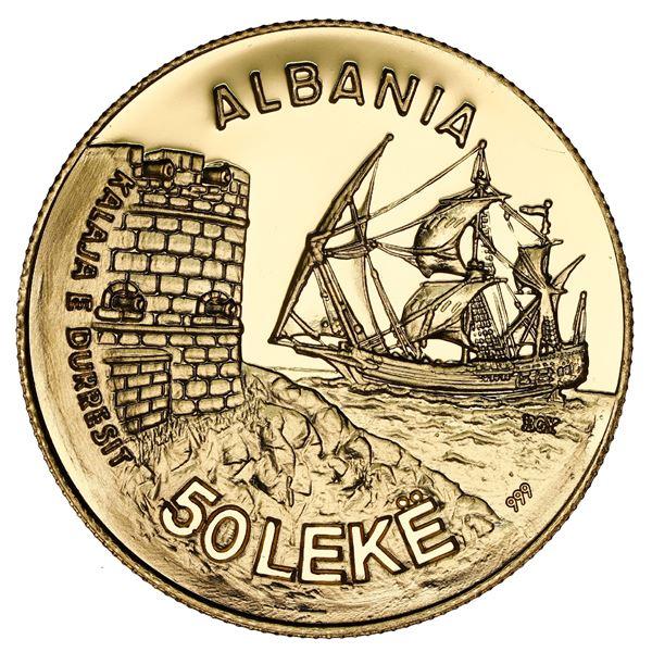 Albania (struck at the Budapest mint), gold proof essai 50 leke, 1986, Durazzo Seaport, rare, NGC PF