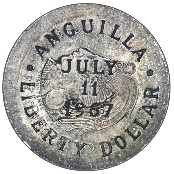 "Anguilla, 1 ""Liberty"" dollar, July 11, 1967, countermark on a Mexico City, Mexico, 5 pesos, 1948, Cu"