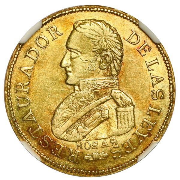 La Rioja, Argentina, gold 2 escudos, 1842 R, Rosas, NGC AU 58.