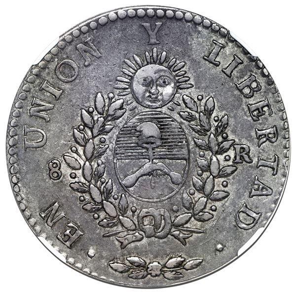 "La Rioja, Argentina, 8 reales, 1840 R, ""rebel peso,"" very rare, NGC XF 40 (""top pop"")."