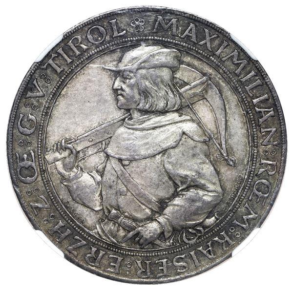 Austria, medallic 2 gulden, dated 1885, Emperor Maximilian, Second Austrian Shooting Festival at Inn