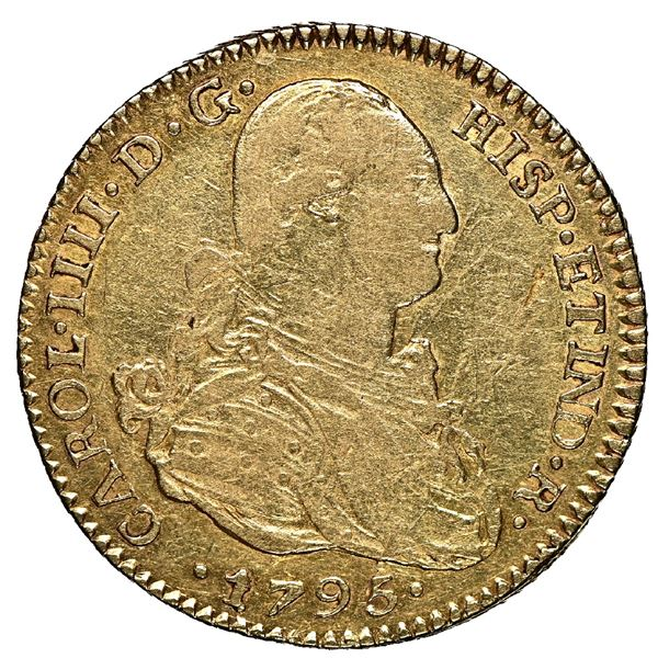 Potosi, Bolivia, gold bust 2 escudos, Charles IV, 1795 PP, NGC XF 45, finest and only example in NGC