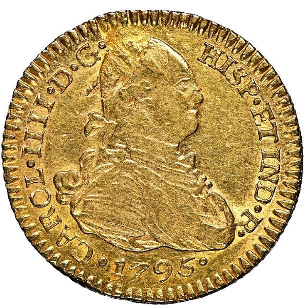 Potosi, Bolivia, gold bust 1 escudo, Charles IV, 1795 PP, NGC AU 55, finest and only example in NGC