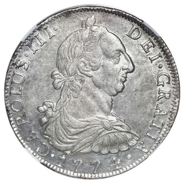 Potosi, Bolivia, bust 8 reales, Charles III, 1774 JR, NGC AU 55.