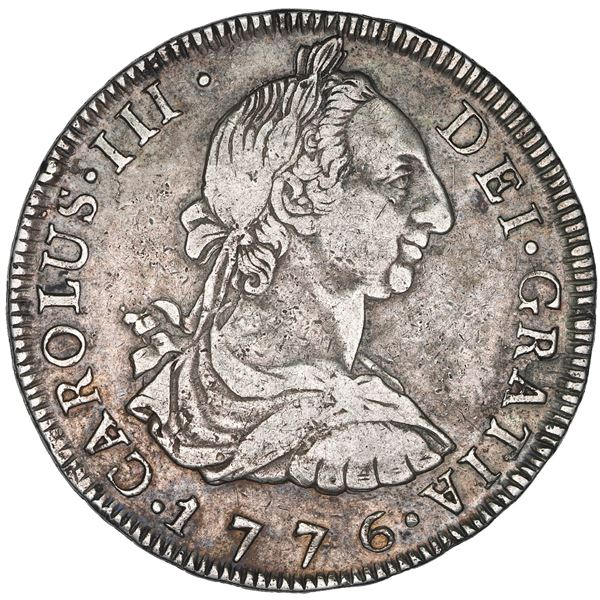 Potosi, Bolivia, bust 8 reales, Charles III, 1776 JR, NGC VF details / cleaned.