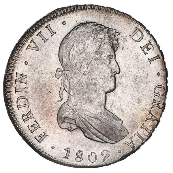 Potosi, Bolivia, bust 8 reales, Ferdinand VII, 1809 PJ, NGC AU 58.
