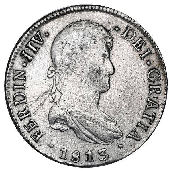 Potosi, Bolivia, bust 8 reales, Ferdinand VII, error with king's ordinal as IIV, 1813PJ, NGC XF deta