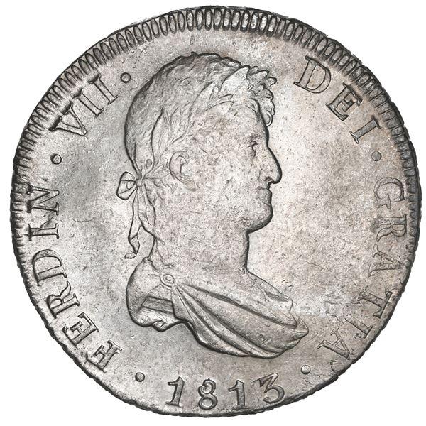 Potosi, Bolivia, bust 8 reales, Ferdinand VII, 1813 PJ, NGC AU 58.