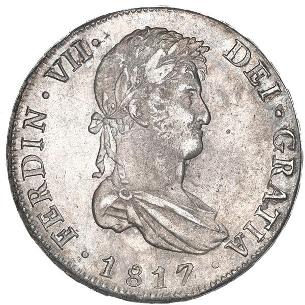 Potosi, Bolivia, bust 8 reales, Ferdinand VII, 1817 PJ, NGC AU 55.