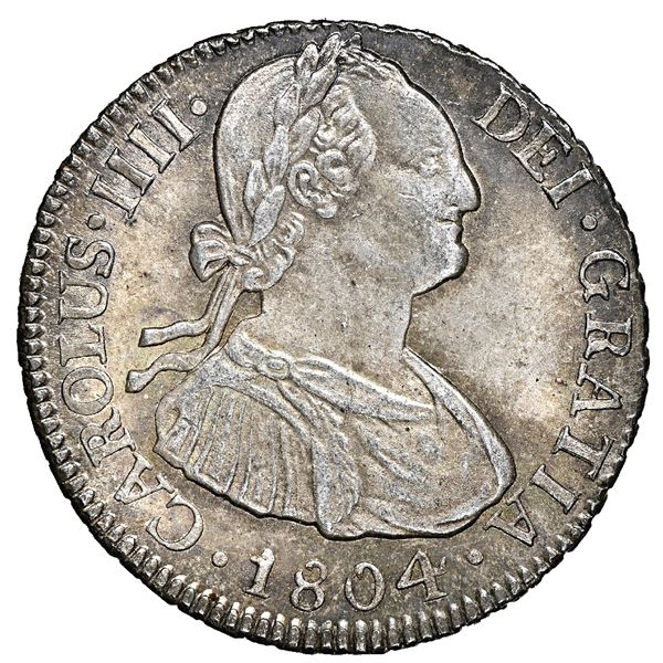 Potosi, Bolivia, bust 2 reales, Charles IV, 1804 PJ, NGC MS 66, finest known in NGC census.