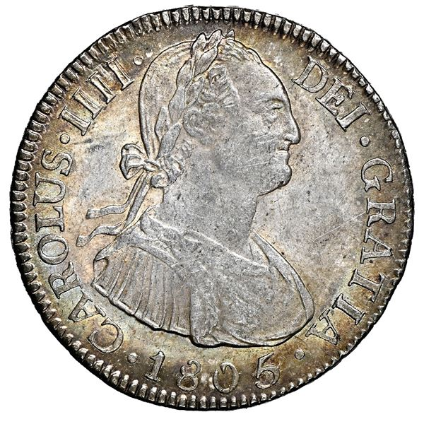Potosi, Bolivia, bust 2 reales, Charles IV, 1805/4 PJ, rare, NGC MS 64, finest and only example in N