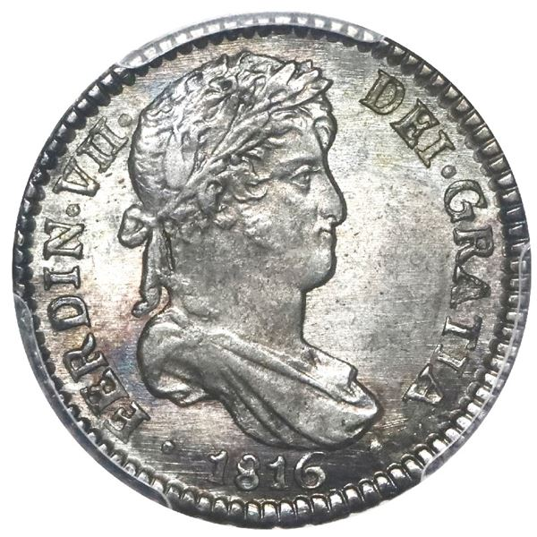 Potosi, Bolivia, bust 1 real, Ferdinand VII, 1816 PJ, PCGS MS64, finest and only example in PCGS cen