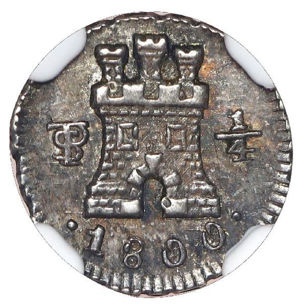 Potosi, Bolivia, 1/4 real, Charles IV, 1800, NGC MS 62.