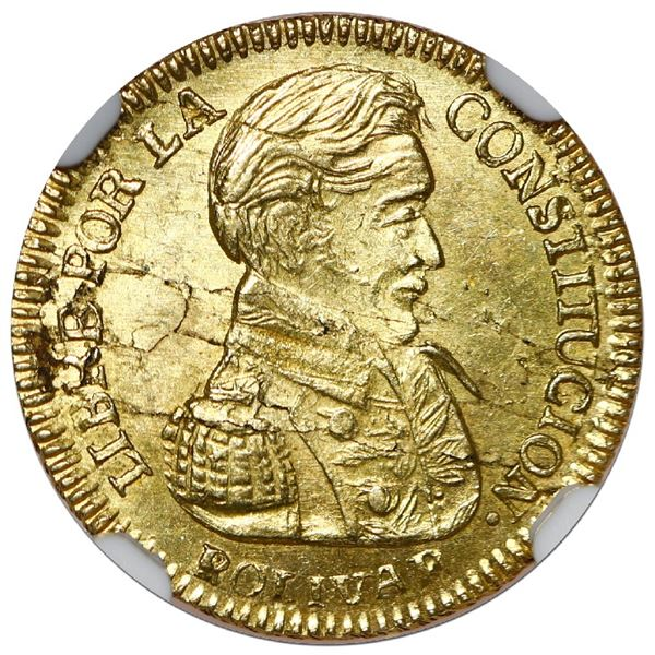 Potosi, Bolivia, gold 1 scudo, 1835 LM, NGC Mint Error MS 62, obverse lamination, finest known in NG