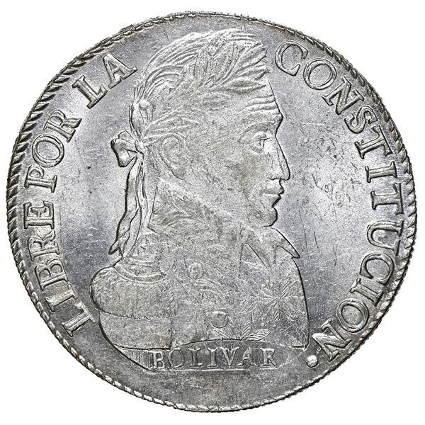 "Potosi, Bolivia, 8 soles, 1834 LM, NGC MS 63 (""top pop"")."