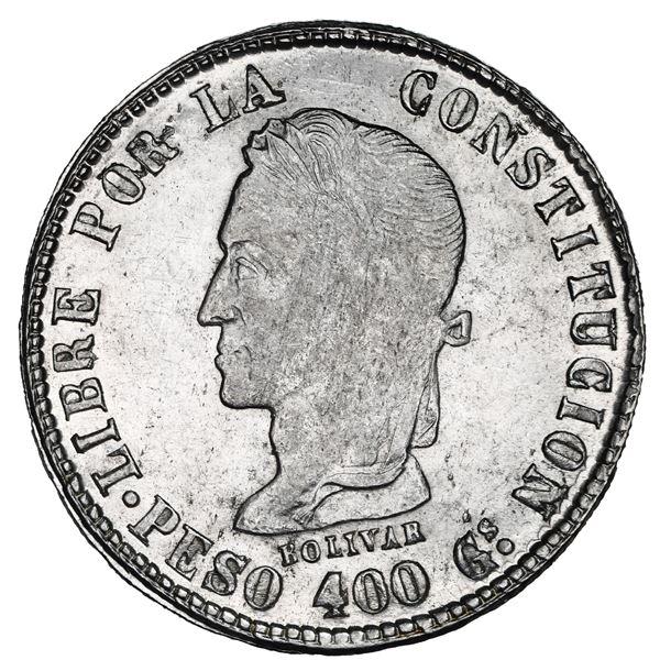 Potosi, Bolivia, 8 soles, 1859 FJ, PESO 400 Gs in legend, NGC MS 61.