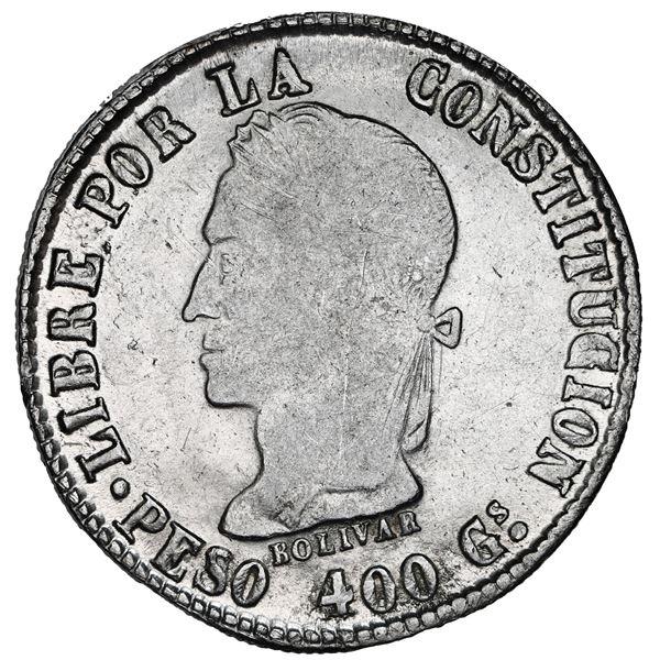 Potosi, Bolivia, 8 soles, 1859 FJ, PESO 400 Gs in legend, NGC AU 58.