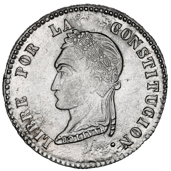 La Paz, Bolivia, 4 soles, 1855 F, La Paz-style head, NGC MS 62.