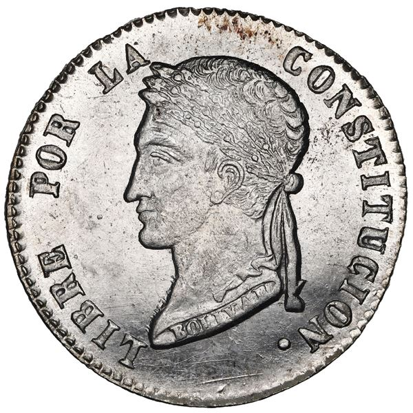 Potosi, Bolivia, 4 soles, 1858 FJ, NGC UNC details / reverse cleaned.