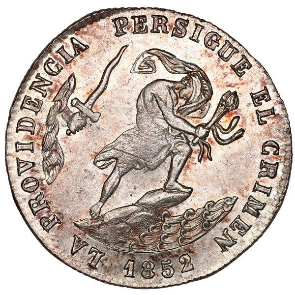 Potosi, Bolivia, medallic 2 soles, 1852/1, Belzu / criminal, coin axis, reeded edge, NGC MS 64.