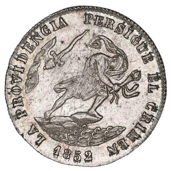 Potosi, Bolivia, medallic 2 soles, 1852/1, Belzu / criminal, coin axis, reeded edge, NGC UNC details