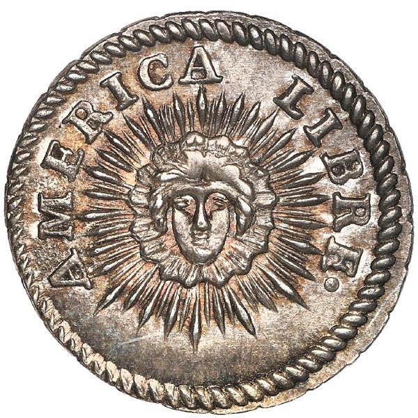 Potosi, Bolivia, medallic 1/2 sol, (1831), America Libre / Republica Boliviana, rare, NGC MS 65.