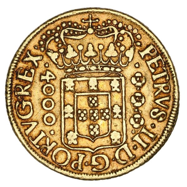 Brazil (Bahia mint), gold 4000 reis, Pedro II, 1696, NGC XF 45.