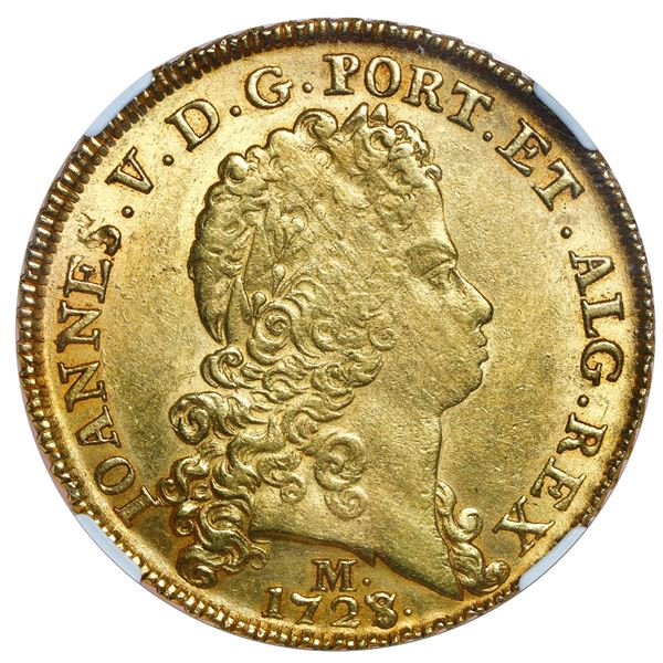 Brazil (Minas mint), gold 12800 reis, Joao V, 1728/7-M, NGC MS 61, finest known in NGC census.