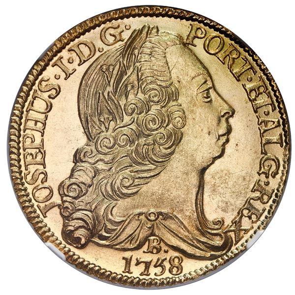 Brazil (Bahia mint), gold 6400 reis, Jose I, 1758-B, NGC MS 66.