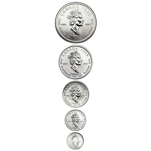 Canada, platinum matte proof 5-coin Polar Bear set dated 1999 in original Royal Canadian Mint box wi