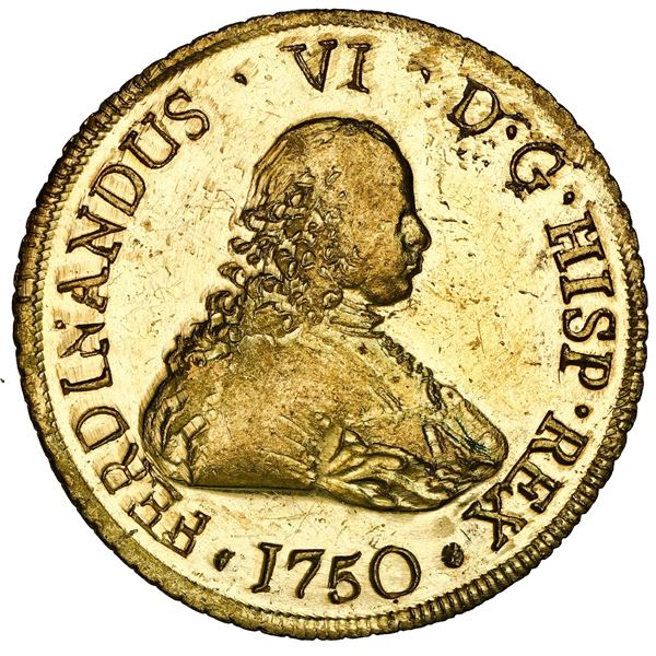 Santiago, Chile, gold bust 8 escudos, Ferdinand VI, 1750 J, NGC MS 62 PL / La Luz (1752), ex-Sotheby