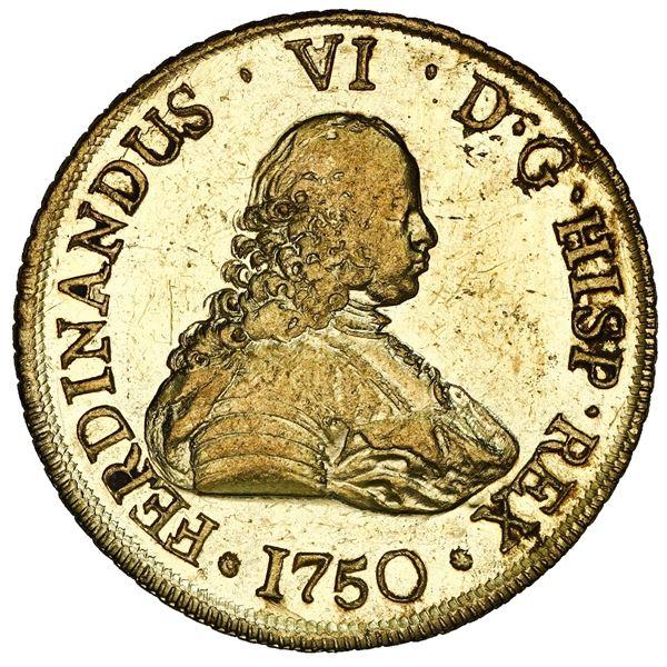 Santiago, Chile, gold bust 8 escudos, Ferdinand VI, 1750 J, NGC MS 61 PL / La Luz (1752), ex-Sotheby