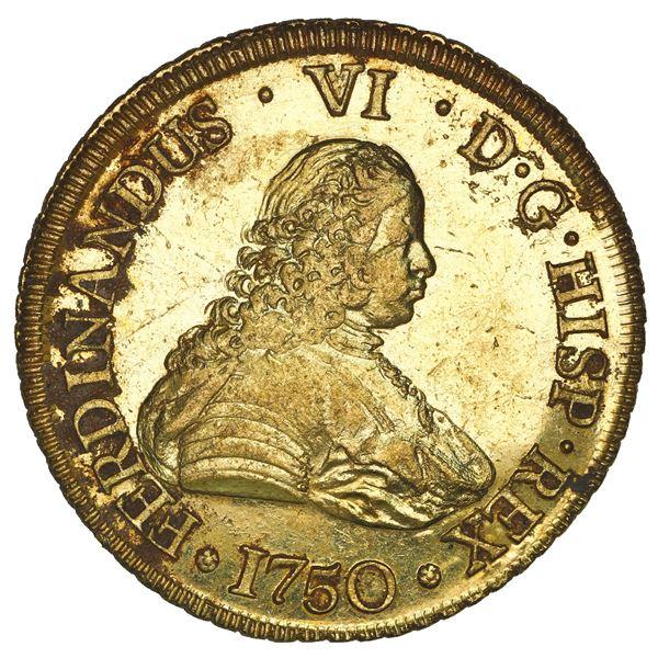 Santiago, Chile, gold bust 8 escudos, Ferdinand VI, 1750 J, NGC MS 61 / La Luz (1752), ex-Sotheby's