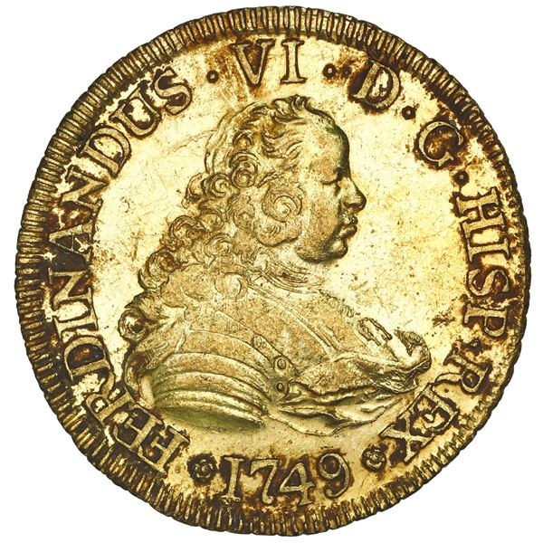 Santiago, Chile, gold bust 4 escudos, Ferdinand VI, 1749 J, NGC MS 61 / La Luz (1752), ex-Sotheby's