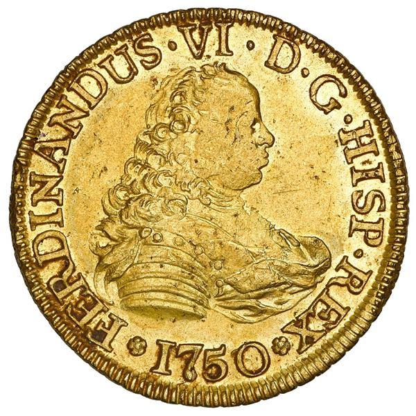 Santiago, Chile, gold bust 4 escudos, Ferdinand VI, 1750/5 J, NGC MS 61 PL / La Luz (1752), ex-Sothe