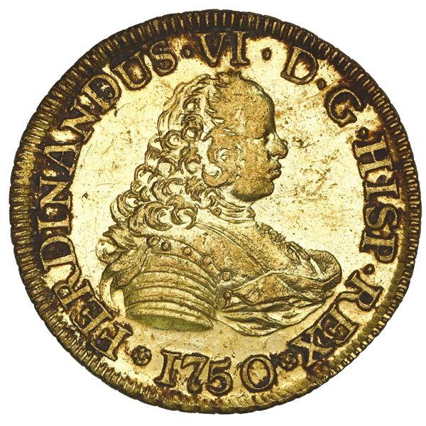 Santiago, Chile, gold bust 4 escudos, Ferdinand VI, 1750/5 J, NGC MS 60 PL / La Luz (1752), ex-Sothe