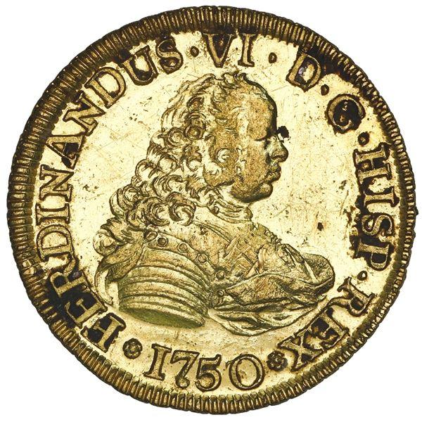 Santiago, Chile, gold bust 4 escudos, Ferdinand VI, 1750/5 J, NGC UNC details / saltwater damage  /