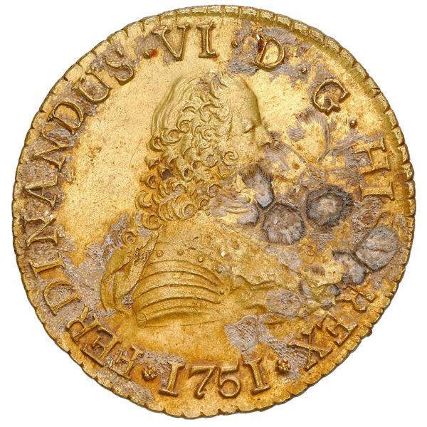 Santiago, Chile, gold bust 8 escudos, Ferdinand VI, 1751J, NGC UNC details / env damage, cleaned, La
